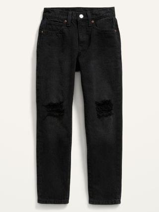 KIDS High-Waisted O.G. Slim Straight Built-In-Tough Ripped Black Jeans for Girls