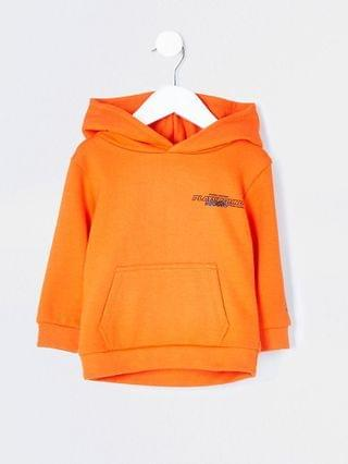 KIDS Mini boys orange back print hoodie