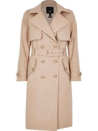 WOMEN Petite beige quilted trench coat
