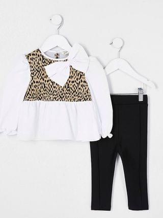 KIDS Mini girls brown animal print peplum outfit