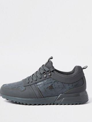 MEN Grey river monogram panel runners