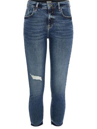 WOMEN Petite blue Amelie mid rise rip skinny jeans