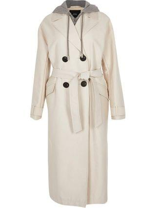 WOMEN Petite beige hooded trench coat