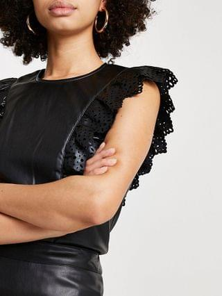 WOMEN Black faux leather cutwork frill top