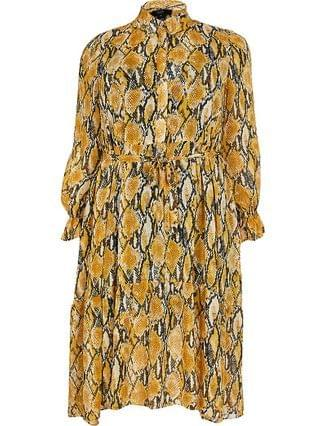 WOMEN Plus yellow snake print smock shirt dress