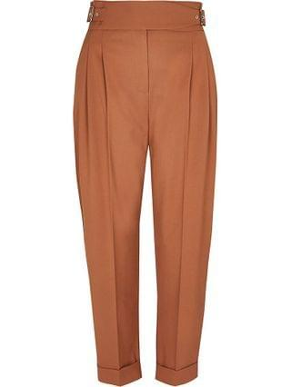 WOMEN Petite beige buckle waist peg trousers