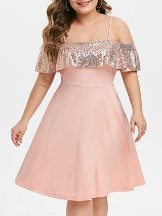WOMEN Plus Size Sequin Open Shoulder Party Cocktail Dress