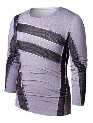 MEN Casual Mesh Panel Round Neck T-shirt