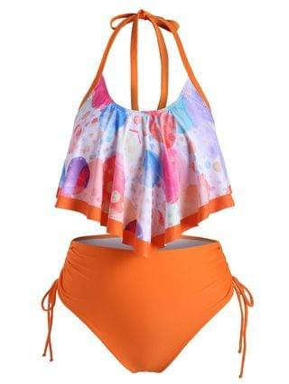 WOMEN Overlay Flounces Funny Planet Cinched Side Plus Size Tankini Swimsuit