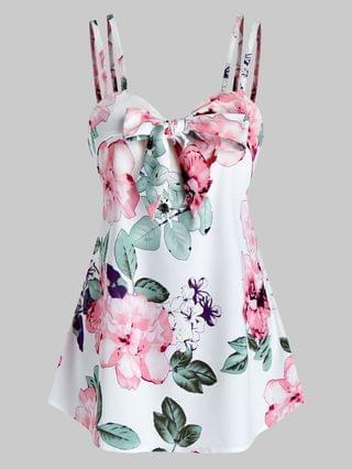 WOMEN Flower Print Knot Front Strappy Tank Top