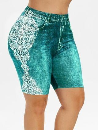 WOMEN Plus Size 3D Jean Print Tribal Shorts
