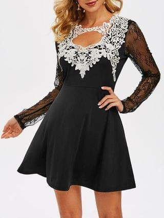 WOMEN Cut Out Lace Insert Prom Dress