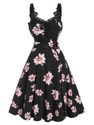 WOMEN Floral Print Belted Lace Panel A Line Dress