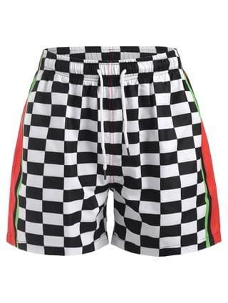 MEN Contrast Panel Checkerboard Print Shorts