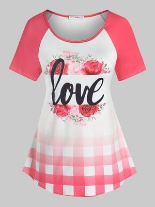 WOMEN Plus Size Graphic Raglan Sleeve Rose Love Print Tee