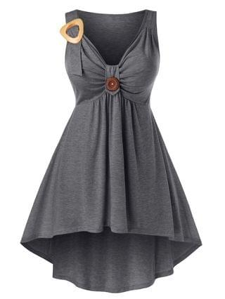 WOMEN Plus Size High Low Ruched Front Knot Tank Top