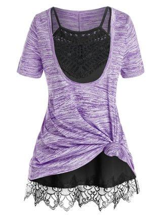 WOMEN Plus Size Front Knot Marled Tee and Cami Top Set