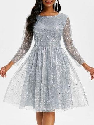 WOMEN Sparkly Sequined Mesh Overlay Open Back Ball Gown Dress