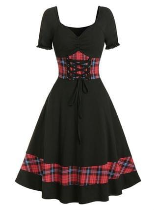 WOMEN Plaid Panel Cinched Ruched Bust Rockabilly Dress