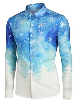MEN Plus Size Christmas Tree and Snowflake Print Button Up Long Sleeve Shirt
