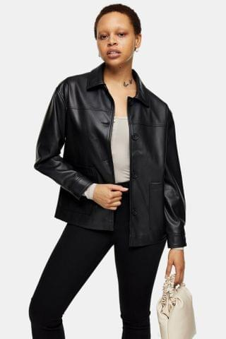 WOMEN Black PU Boxy Shacket