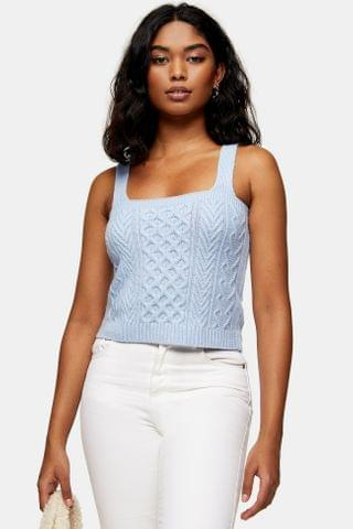 WOMEN Pale Blue Cable Knitted Sweater And Tank Set