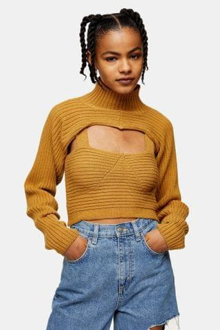 WOMEN Camel Ribbed Funnel Neck Knitted Sweater And Crop Top Set