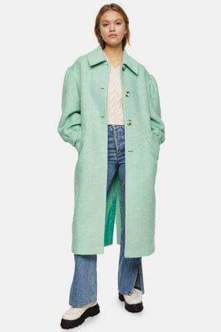WOMEN Aqua Blue Puff Sleeve Coat