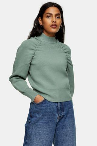 WOMEN Sage Gathered Sleeve Knitted Sweatshirt