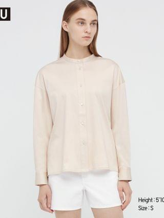 WOMEN u mercerized cotton stand collar long-sleeve shirt