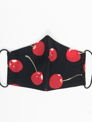 WOMEN Black & Red Cherry Print Face Mask