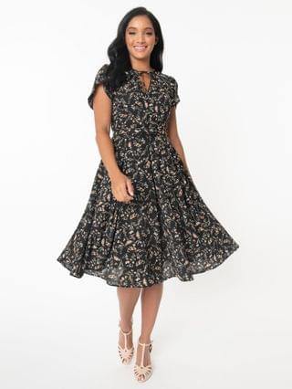 WOMEN Unique Vintage 1950s Black & Pink Floral Dahlia Midi Dress