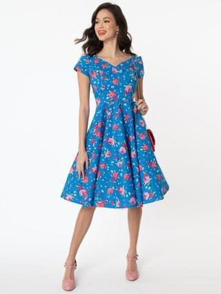 WOMEN Hell Bunny 1950s Blue & Pink Floral Chantilly Swing Dress