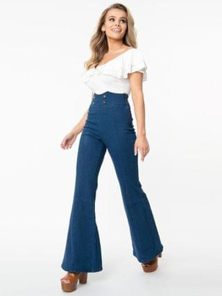 WOMEN 1960s Medium Denim Blue High Waist Flare Jeans