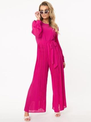 WOMEN 1970s Style Magenta Accordion Pleated Jumpsuit