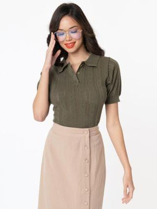 WOMEN 1950s Style Olive Perforated Polo Sweater Top