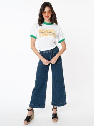 WOMEN 1970s Medium Denim Blue Crop Wide Leg Jeans