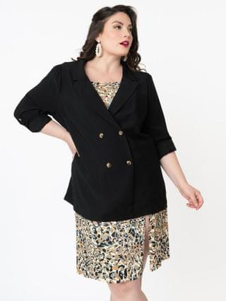 WOMEN Plus Size Black Double Breasted Oversized Blazer
