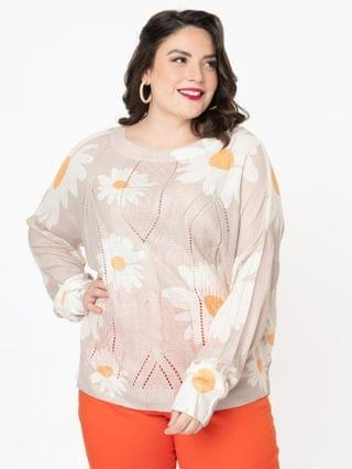 WOMEN Plus Size 1960s Style Taupe & White Daisy Floral Sweater