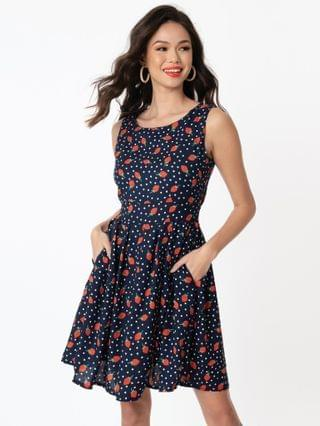 WOMEN 1960s Navy & Red Strawberry Dot Print Fit & Flare Dress