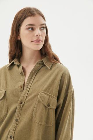 WOMEN Urban Renewal Recycled Overdyed Solid Oversized Flannel Shirt