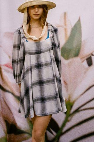 WOMEN UO Lachlan Flannel Smocked Mini Dress