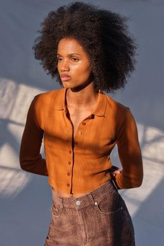 WOMEN UO Poppi Button-Front Polo Top