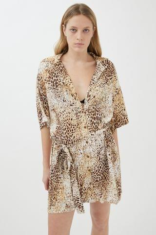 WOMEN Motel Animal Print Shirt Dress