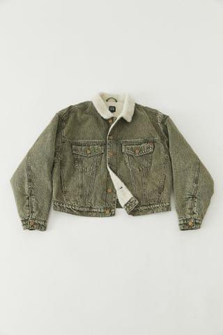 WOMEN BDG River Fleece-Lined Denim Jacket