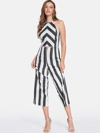 WOMEN Black Backless Design Stripe Halter Sleeveless Middle-waisted Jumpsuit