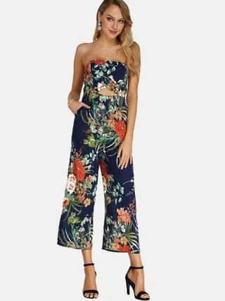 WOMEN Random Floral Print Backless Design Off Shoulder Sleeveless Jumpsuit