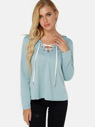 WOMEN Green Deep V-neck Lace-up Design Long Sleeves Hoodie