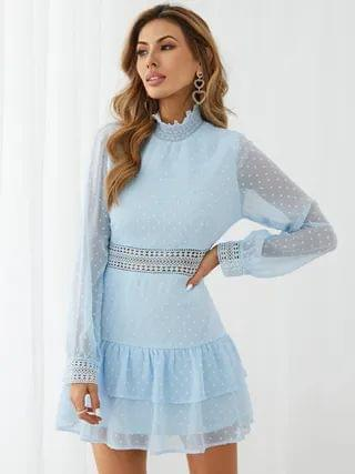 WOMEN YOINS Hollow Design Tiered Hem Long sleeves Mini Dress
