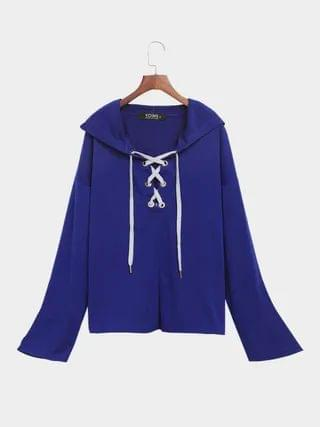 WOMEN Dark Blue Long Sleeves Lace-up Design Hoodie
